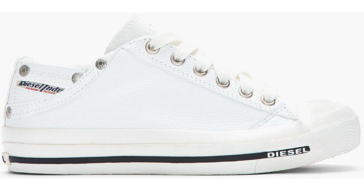 b63016bd16246 Lyst - Diesel White Low Exposure Sneakers in White