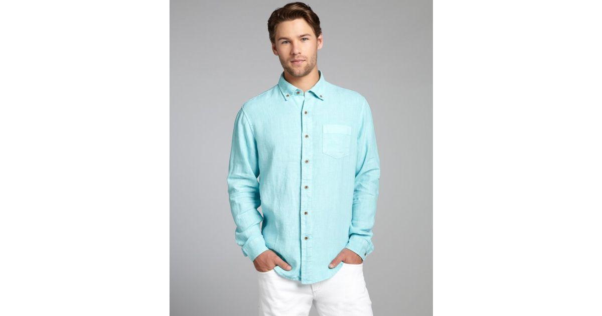 Tailor vintage aqua linen garment dye wash long sleeve for Aqua blue mens dress shirt