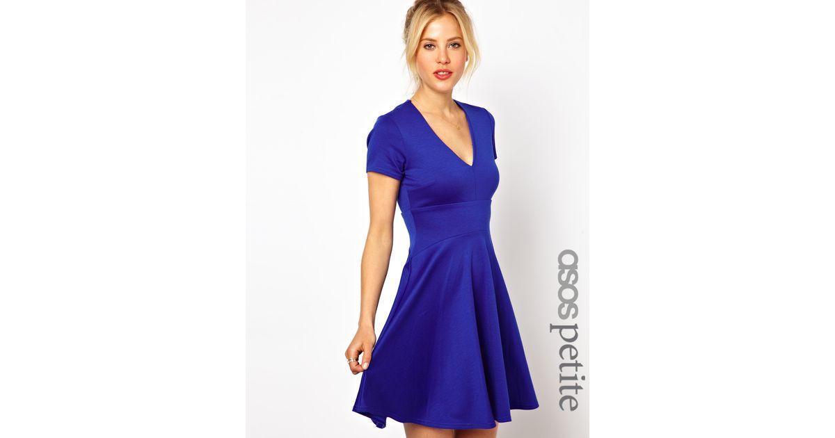 Lyst - Asos Petite Exclusive V Neck Fluted Hem Skater Dress in Blue