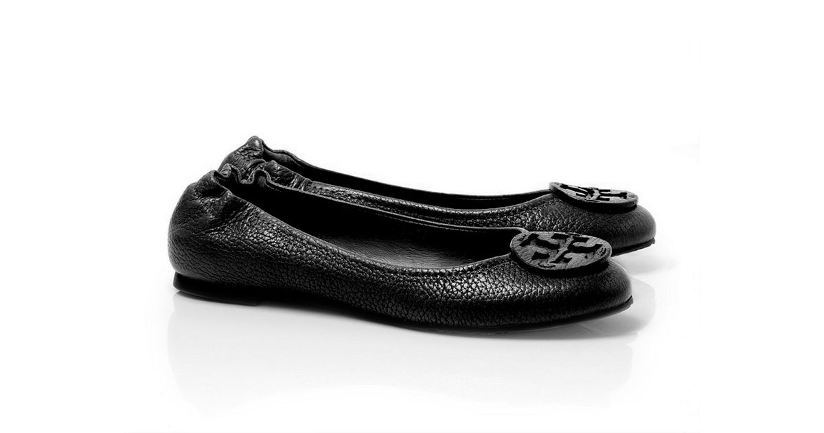 66c8d90d8695 ... sweden lyst tory burch tumbled leather reva ballet flat in black 7787a  0f490