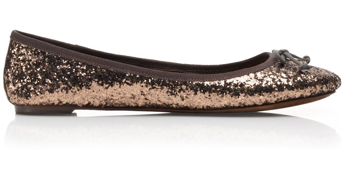 a50a594acc54 Tory Burch Chelsea Glitter Ballet Flat in Brown - Lyst