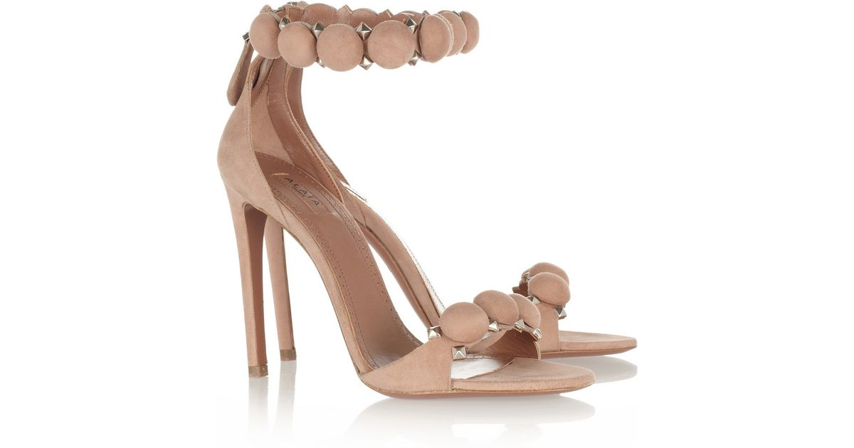 1dd630967fea6f Lyst - Alaïa Embellished Suede Sandals in Natural
