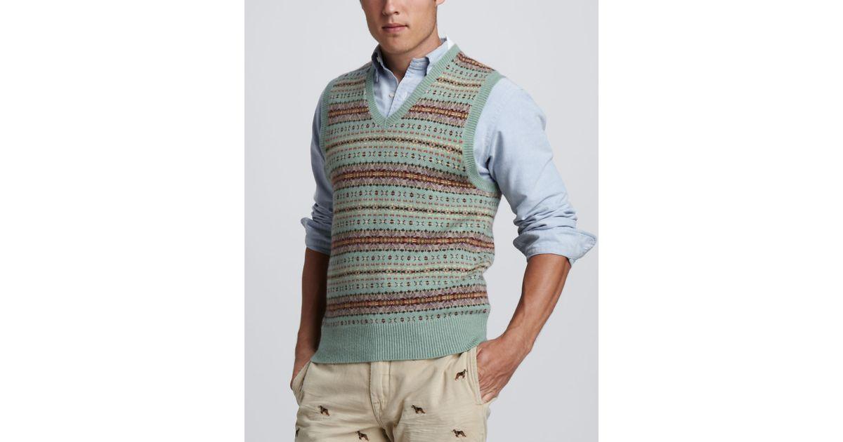 Polo ralph lauren Fair Isle Sweater Vest in Green for Men | Lyst