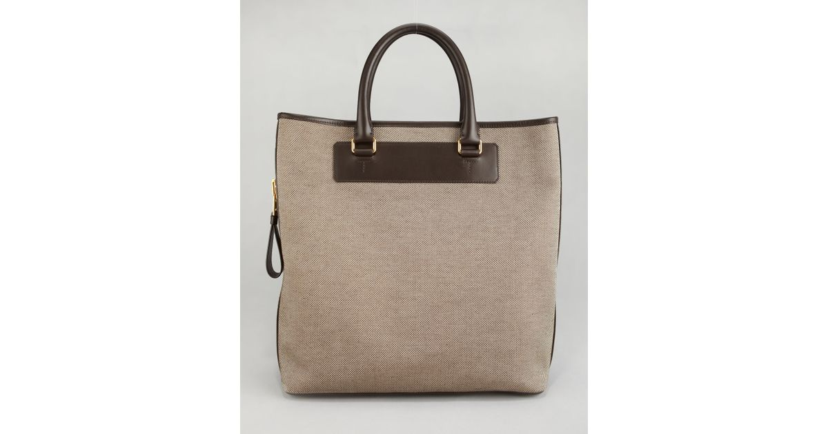 Tom ford Canvas Sidezip Tote Bag in Brown for Men (ecru/brown) | Lyst