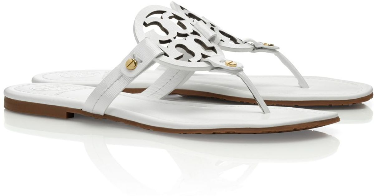 43e3d871b862 Tory Burch Patent Leather Miller Sandal in White - Lyst