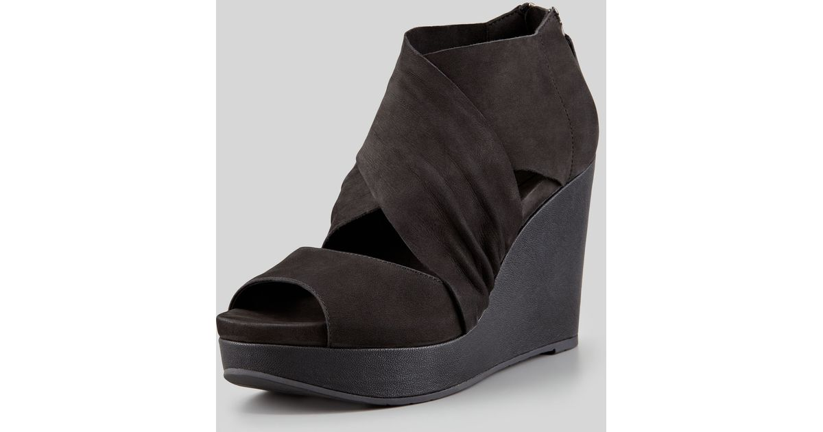 55541458c6d3 Lyst - Eileen Fisher Draw Draped Buffed Leather Wedge in Black