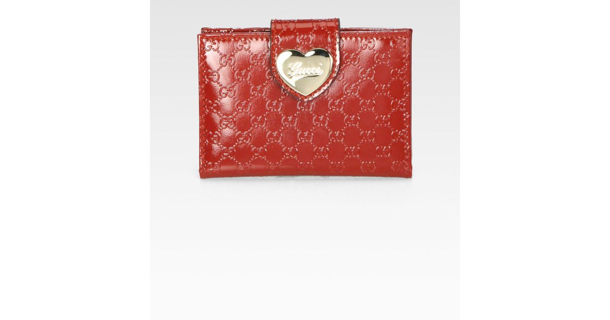 cefba189254 Lyst - Gucci Heart Microguccissima Patent Leather Travel Case in Red