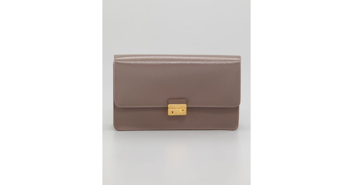 prada women bags - Prada Saffiano Vernice Lock Case Clutch Bag in Brown (dark gray ...