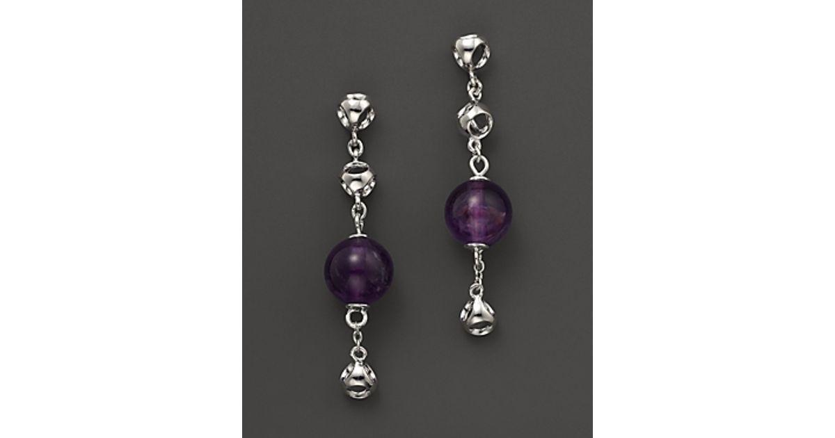 Lyst Di Modolo Sterling Silver And Purple Amethyst Triadra Dm Chain Earrings In Metallic