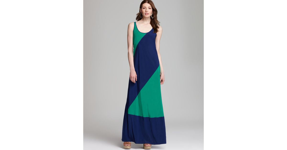 Dkny Color Block Maxi Dress in Green - Lyst