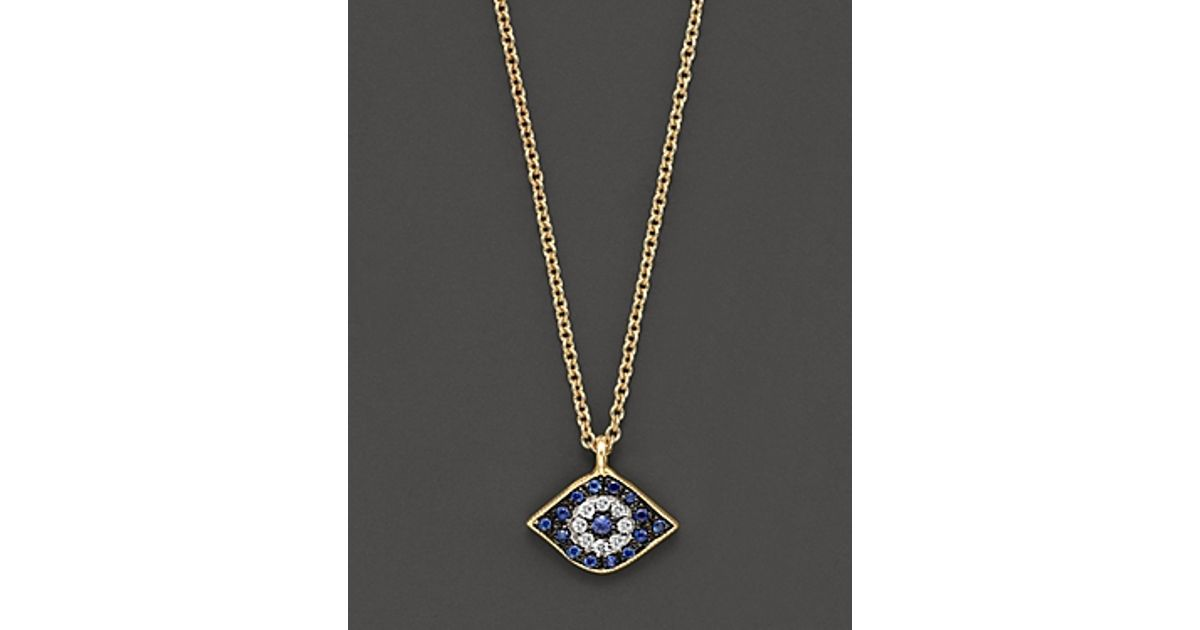 Lyst meira t diamond sapphire and 14 kt yellow gold evil eye lyst meira t diamond sapphire and 14 kt yellow gold evil eye pendant necklace in yellow aloadofball Gallery