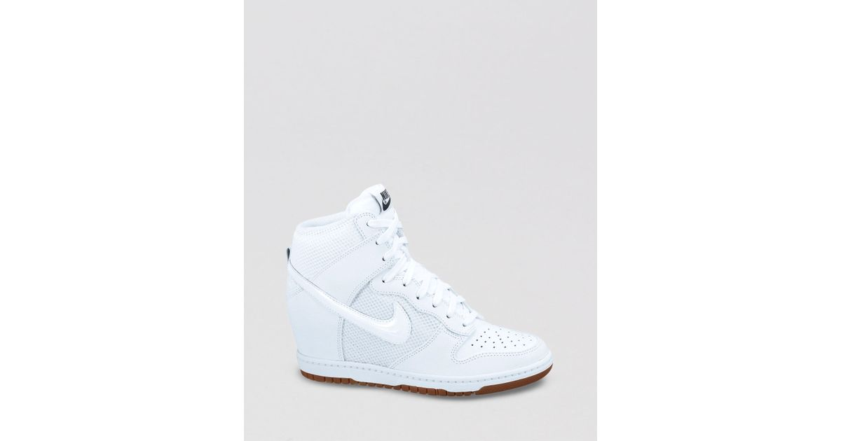 Lyst - Nike Lace Up High Top Sneaker Wedges Womens Dunk Sky Hi Mesh in White