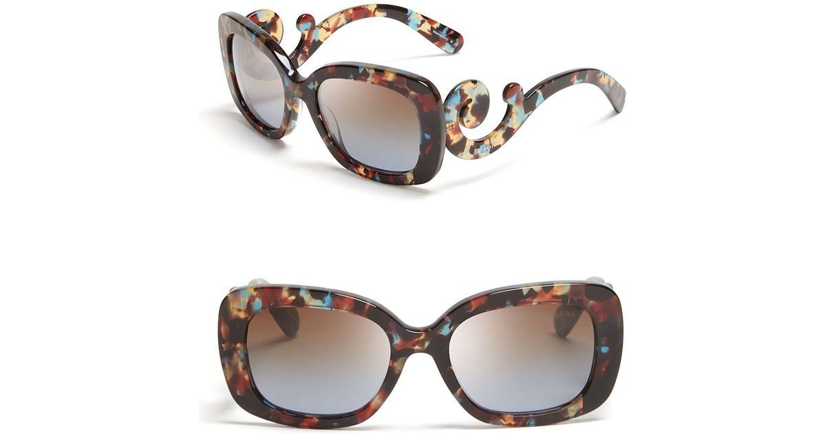 017be3be9f Lyst - Prada Rectangle Baroque Sunglasses in Brown