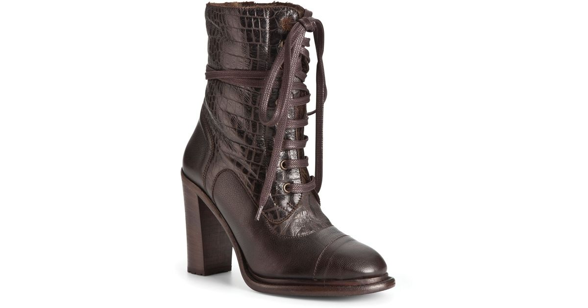 d8ef6eb5cc4 UGG - Brown Lace Up Boots Pierra High Heel - Lyst