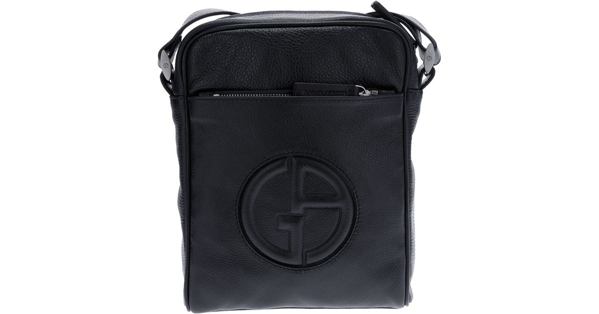 Lyst - Giorgio Armani Raised Logo Messenger Bag in Black for Men 9d64c27ff66d1
