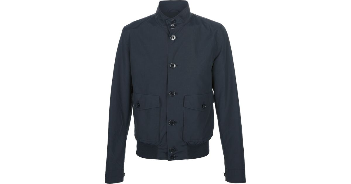 Lyst Herno Button Down Bomber Jacket In Blue For Men