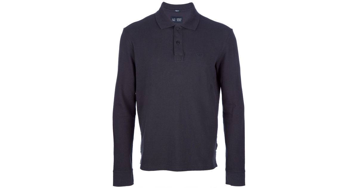 db0903114af2 Armani Jeans Long Sleeve Polo Shirt in Blue for Men - Lyst