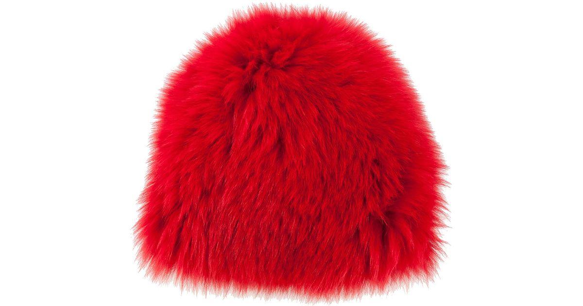 Lyst - Moncler Fox Fur Hat in Red f2c70ffdc9e