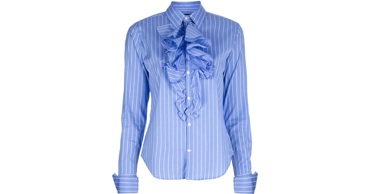 c087ec8e5ae869 ... coupon for lyst ralph lauren ruffle front shirt in blue 900eb 7992d