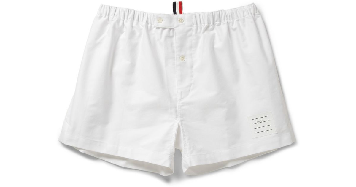 Thom browne Cotton Oxford Boxer Shorts in White for Men | Lyst