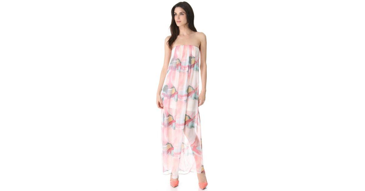 Lyst - Alice + Olivia Alice Olivia Strapless Maxi Dress in Pink 3e0fa1539