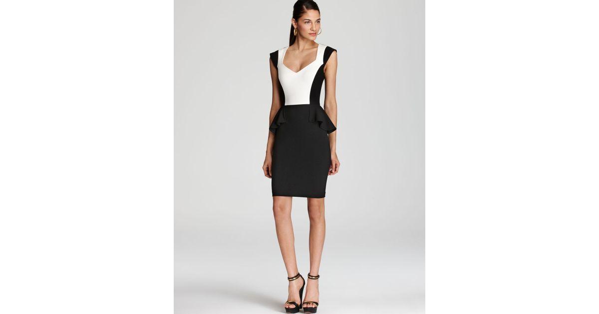 Lyst Erin Erin Fetherston Peplum Dress Cap Sleeve Color Block In Black