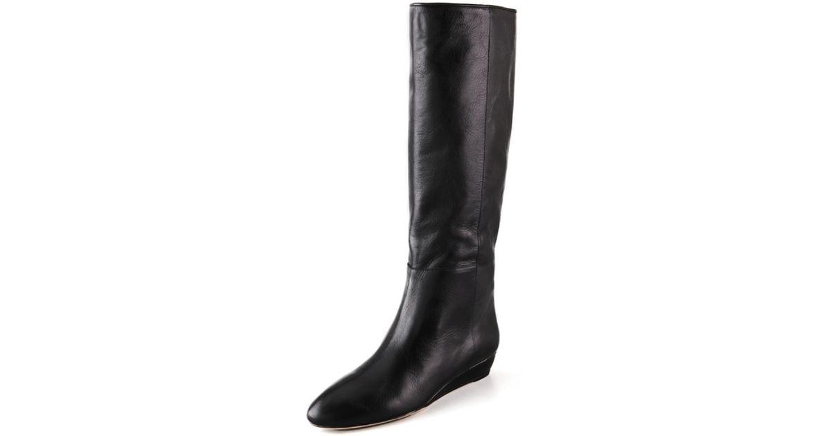 Lyst - Loeffler randall Matilde Low Wedge Boots in Black
