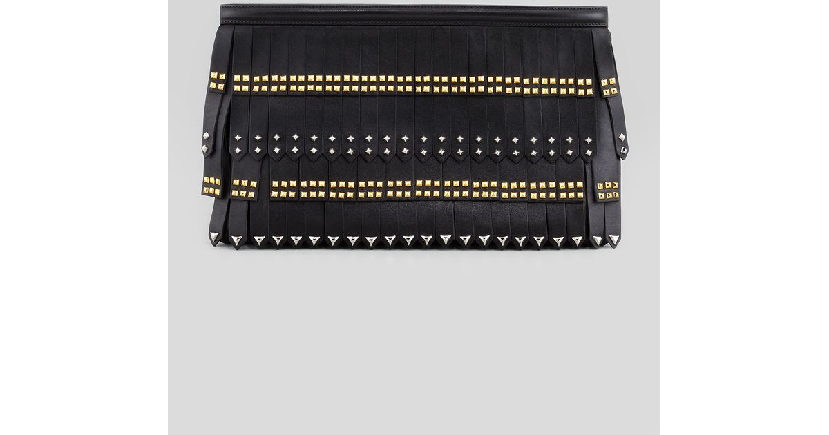 Prada Large Studfringe Zip Clutch Bag in Black | Lyst