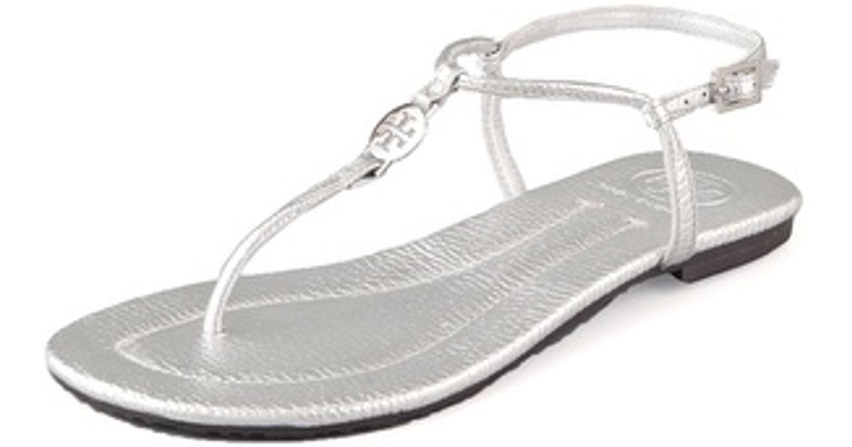 1e1bacddc7f9 Lyst - Tory Burch Emmy Flat Thong Sandals in Metallic