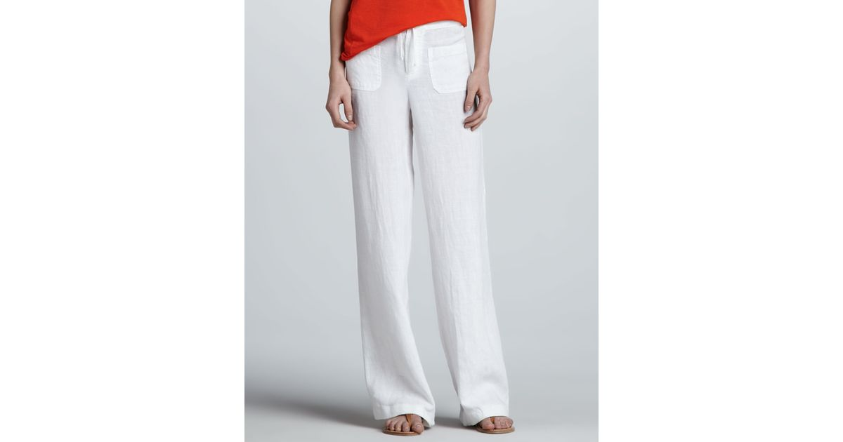 Lyst - Vince Linen Beach Pants in White ac71bce078
