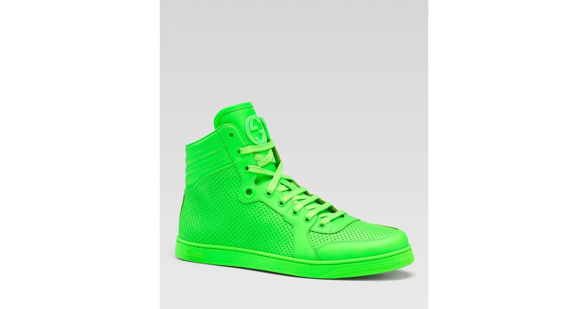 6edbadf7f3d Lyst - Gucci Coda Neon Leather Hightop Sneakers in Green for Men