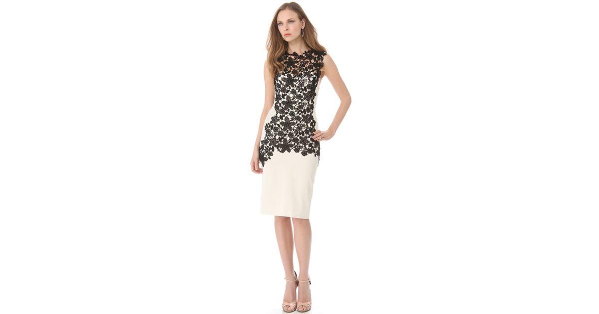 194080abfce Lyst - Lela Rose Lace Applique Bustier Dress in White