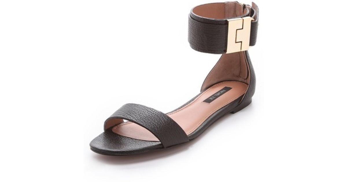8ca9b58c586f Lyst - Rachel Zoe Gladys Flat Sandals in Black
