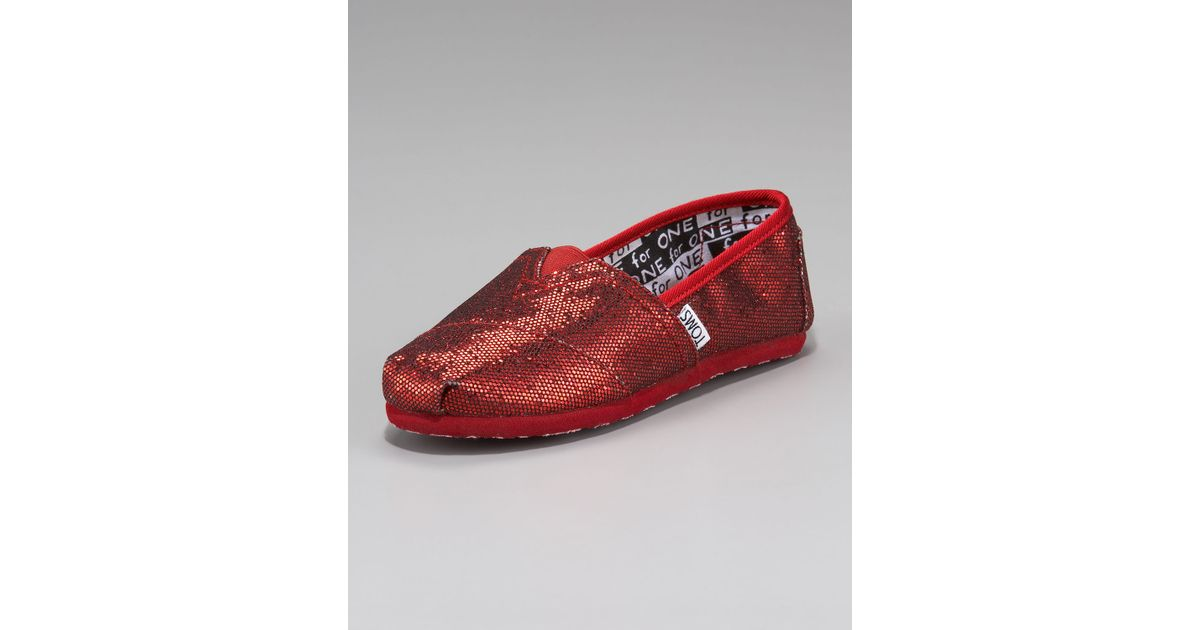 803760149f3 Lyst - TOMS Red Glitter Shoe Youth in Red