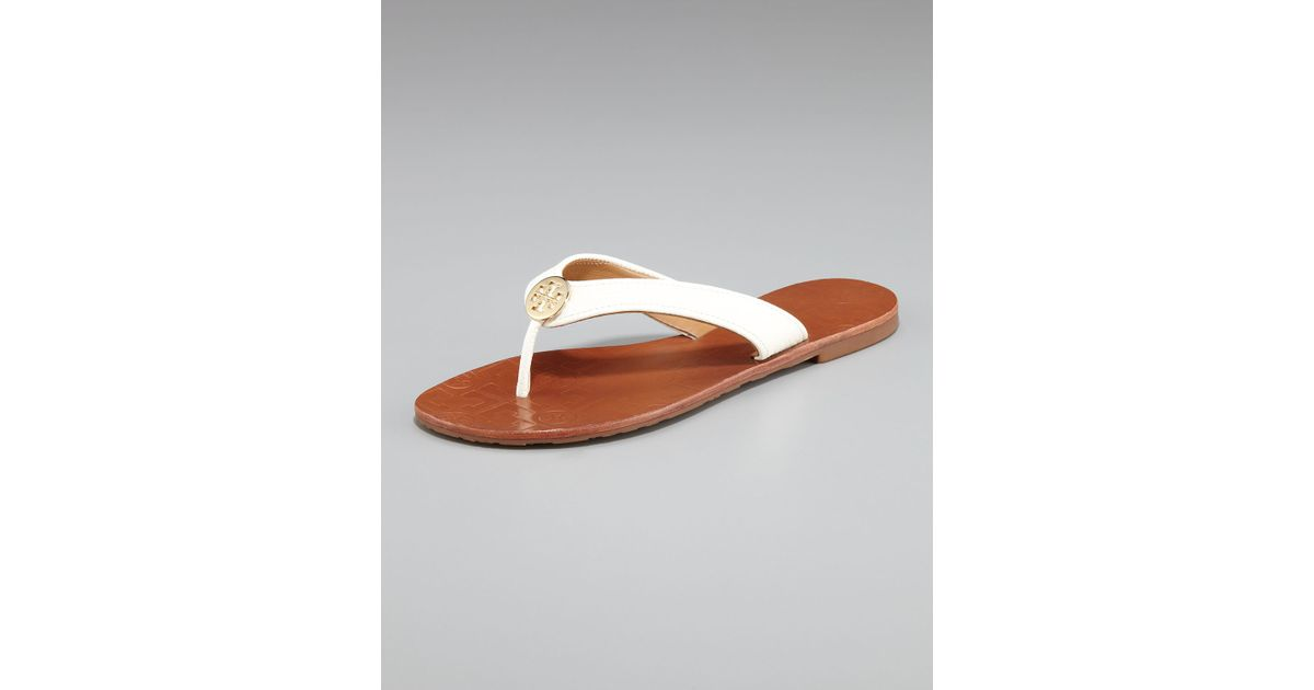 479f4ccea203ab Lyst - Tory Burch Thora Leather Thong Sandal in White