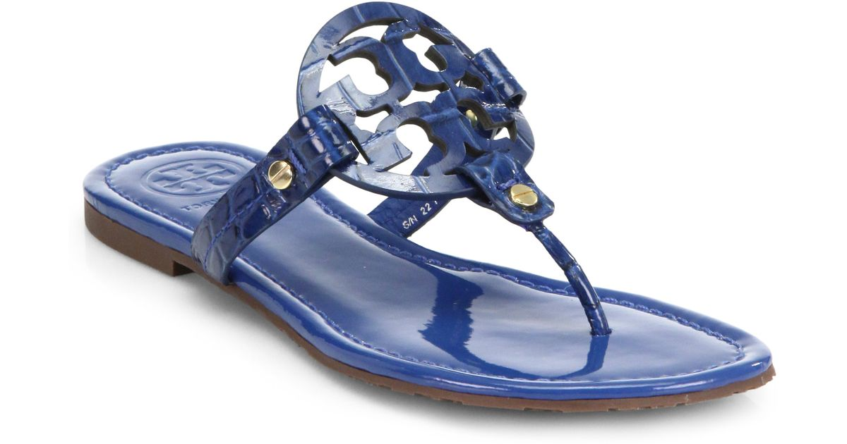 90361def678 Lyst - Tory Burch Miller Crocodileembossed Patent Leather Sandals in Blue