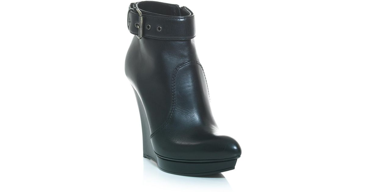 348c96ad4ea Lyst - McQ Biker Wedge Heel Ankle Boots in Black