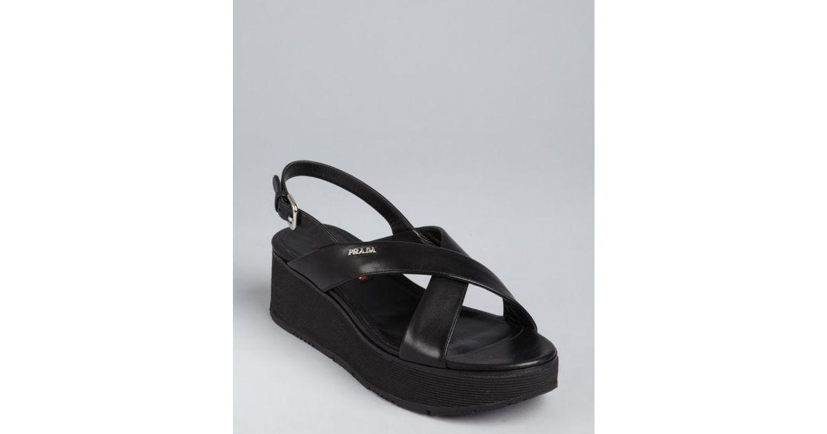 391897cbe7b15 Prada Sport Black Leather Crisscross Strap Platform Sandals in Black - Lyst