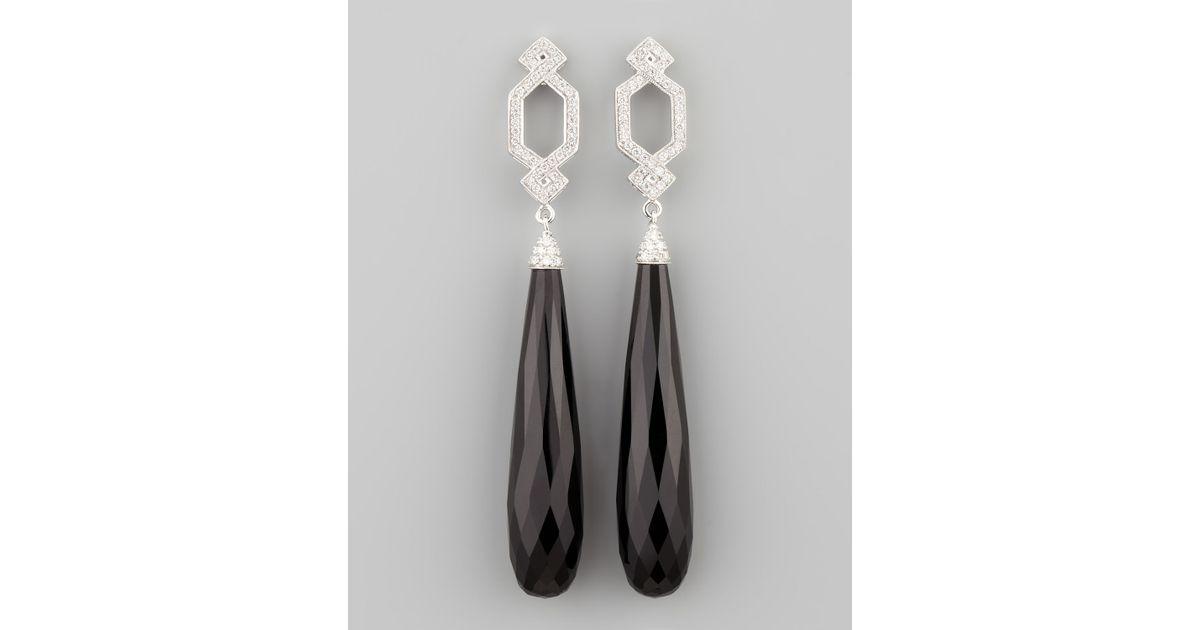 Lyst Ivanka Trump Long Diamond Crossover Earrings With Black Onyx Drop In