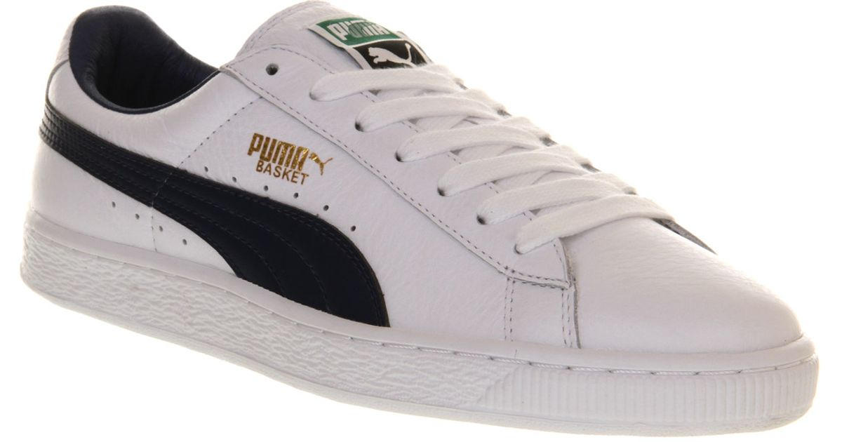 Lyst - PUMA Basket Classic White Blue Leather in White for Men e120c461d