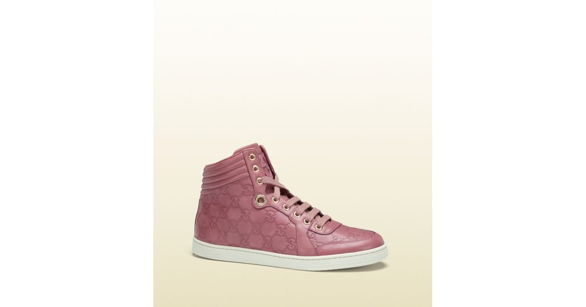 4f9940003a1 Gucci Coda Dark Pink Guccissima Leather Hightop Sneaker in Pink for Men -  Lyst