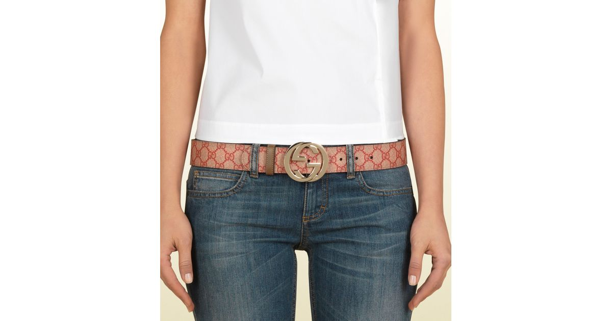 c6785891e Gucci Gg Supreme Canvas Belt with Interlocking G Buckle in Natural - Lyst