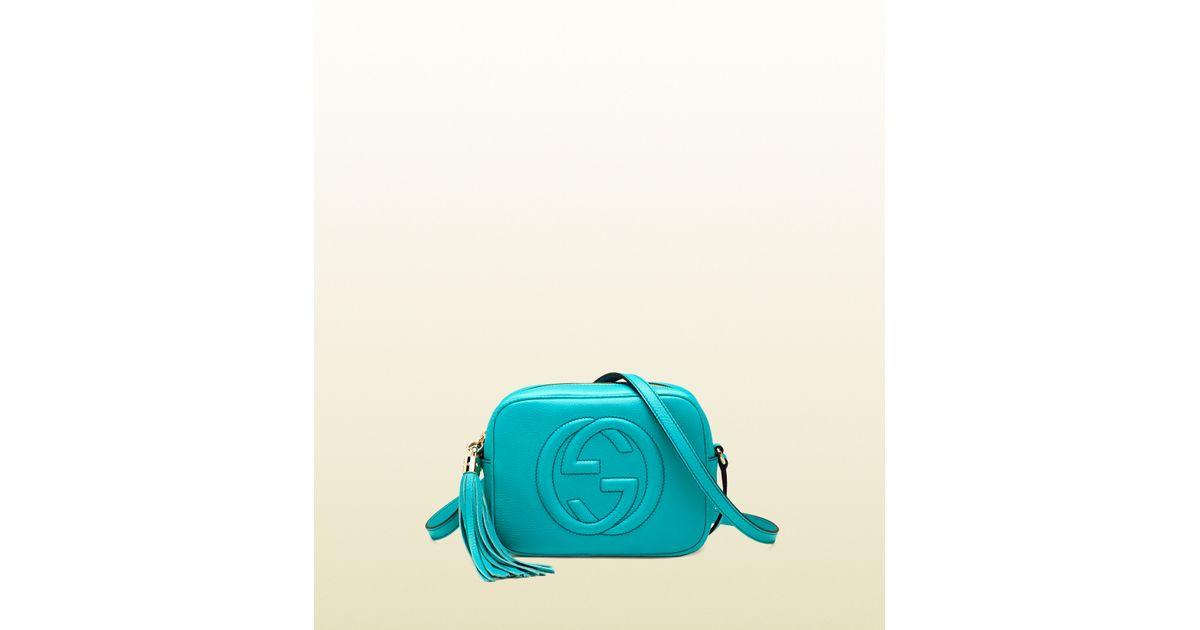 e10ec345ca7ccc Gucci Soho Light Blue Leather Disco Bag in Blue - Lyst