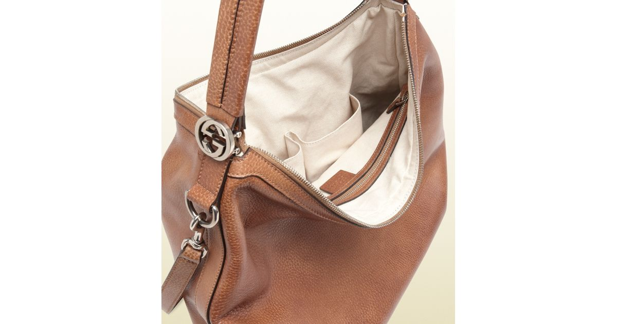 6932588d7d2b Lyst - Gucci Miss Gg Leather Hobo in Natural