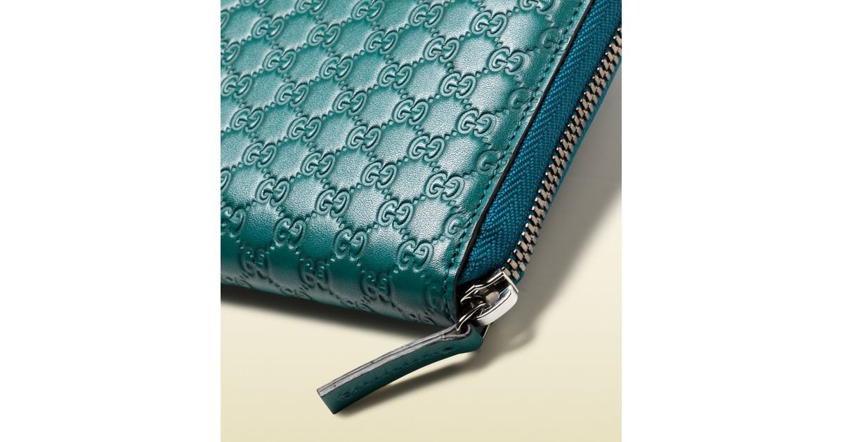 68728b3a3e58ef Gucci Microguccissima Leather Zip Around Wallet in Blue for Men - Lyst