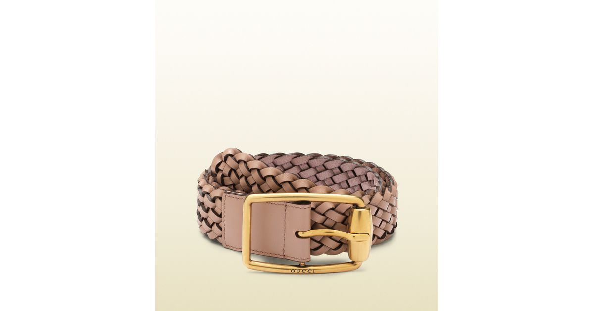 2e70ab5c06c Gucci Light Pink Braided Leather Belt with Olive Buckle in Pink - Lyst