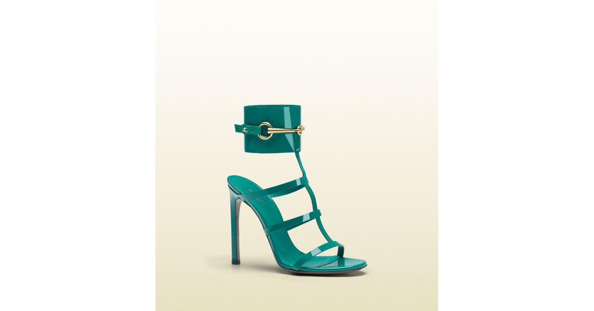 9e771a6a6 Lyst - Gucci Ursula Anklestrap High Heel Sandal in Green