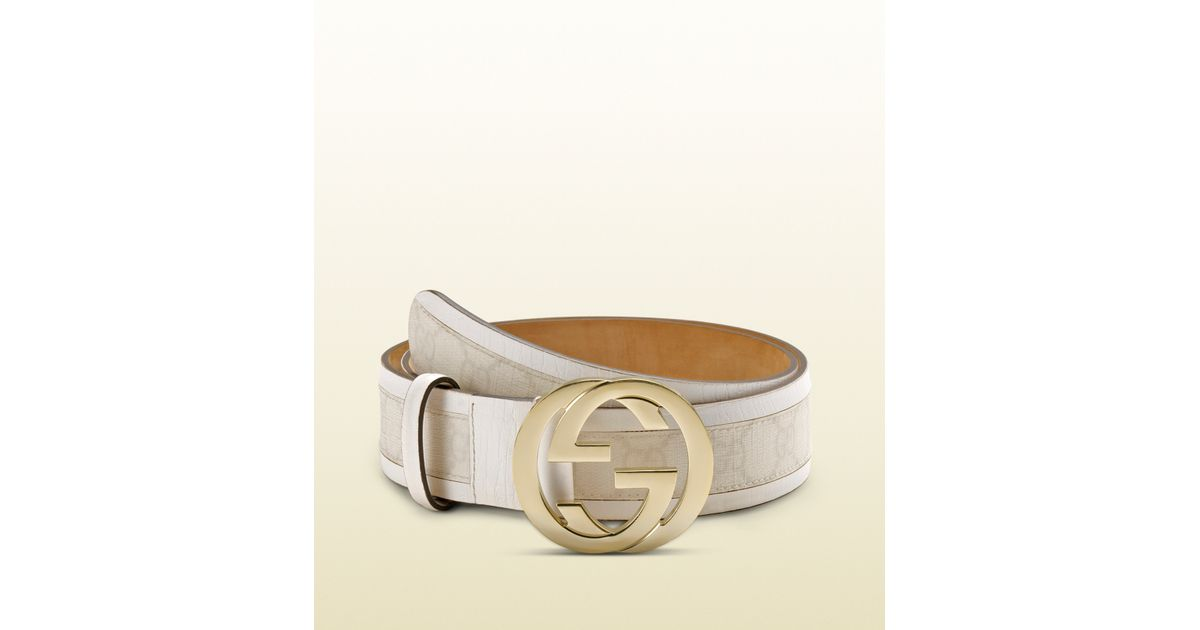 ba9a1debed9 Lyst - Gucci Gg Plus Belt With Interlocking G Buckle in White