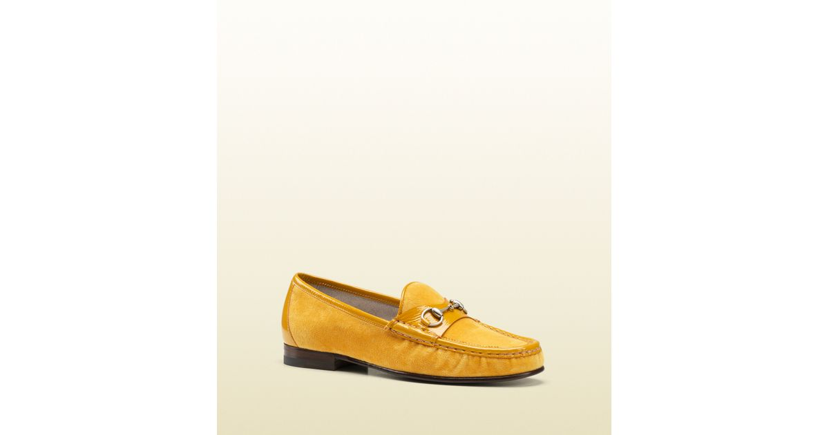 b21f38402600 Lyst - Gucci Horsebit Loafer in Velvet in Yellow