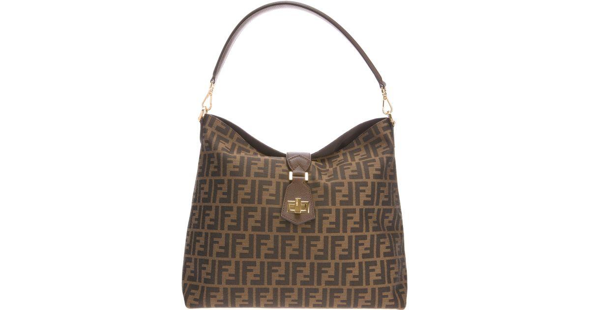 400aca6ee8 Lyst - Fendi Classic Hobo Logo Bag in Brown